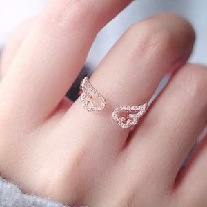 Dainty angel wing adjustable rose gold ring